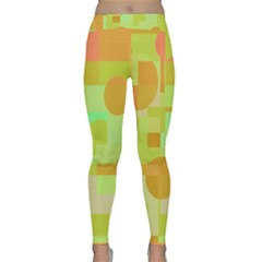 Green And Orange Decorative Design Yoga Leggings by Valentinaart