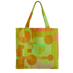 Green And Orange Decorative Design Zipper Grocery Tote Bag by Valentinaart