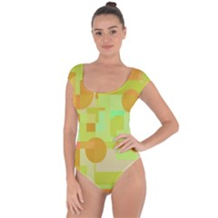 Green And Orange Decorative Design Short Sleeve Leotard  by Valentinaart