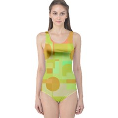 Green And Orange Decorative Design One Piece Swimsuit by Valentinaart