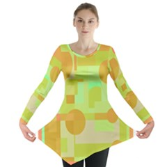 Green And Orange Decorative Design Long Sleeve Tunic  by Valentinaart
