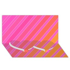 Pink Elegant Lines Twin Heart Bottom 3d Greeting Card (8x4)  by Valentinaart