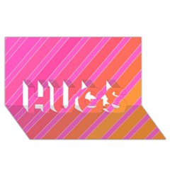 Pink Elegant Lines Hugs 3d Greeting Card (8x4)
