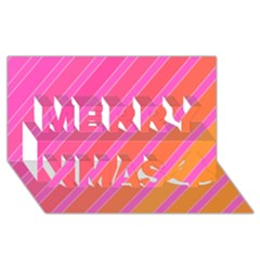 Pink Elegant Lines Merry Xmas 3d Greeting Card (8x4)  by Valentinaart