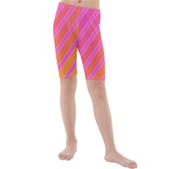 Pink Elegant Lines Kid s Mid Length Swim Shorts by Valentinaart