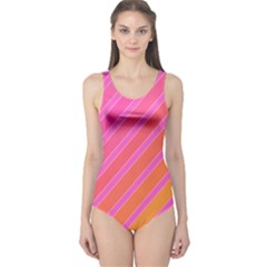 Pink Elegant Lines One Piece Swimsuit by Valentinaart