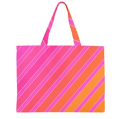 Pink Elegant Lines Zipper Large Tote Bag by Valentinaart