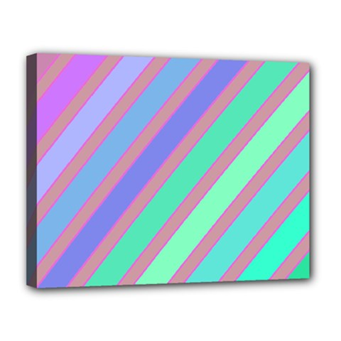 Pastel Colorful Lines Canvas 14  X 11  by Valentinaart