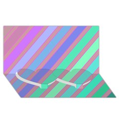 Pastel Colorful Lines Twin Heart Bottom 3d Greeting Card (8x4)  by Valentinaart