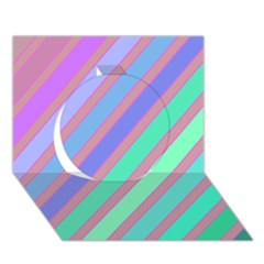 Pastel Colorful Lines Circle 3d Greeting Card (7x5)