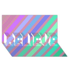 Pastel Colorful Lines Believe 3d Greeting Card (8x4)