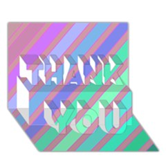 Pastel Colorful Lines Thank You 3d Greeting Card (7x5)
