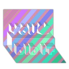 Pastel Colorful Lines You Did It 3d Greeting Card (7x5)