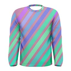 Pastel Colorful Lines Men s Long Sleeve Tee by Valentinaart