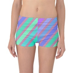Pastel Colorful Lines Boyleg Bikini Bottoms by Valentinaart