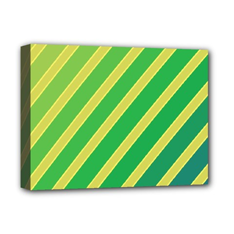 Green And Yellow Lines Deluxe Canvas 16  X 12   by Valentinaart