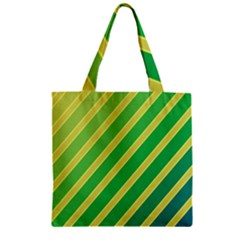 Green And Yellow Lines Zipper Grocery Tote Bag