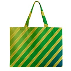 Green And Yellow Lines Zipper Mini Tote Bag by Valentinaart