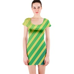 Green And Yellow Lines Short Sleeve Bodycon Dress