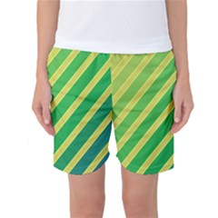 Green And Yellow Lines Women s Basketball Shorts