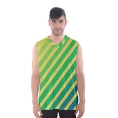 Green And Yellow Lines Men s Basketball Tank Top