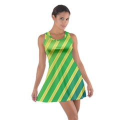 Green And Yellow Lines Racerback Dresses
