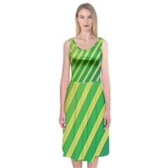 Green And Yellow Lines Midi Sleeveless Dress