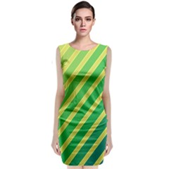 Green And Yellow Lines Classic Sleeveless Midi Dress