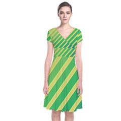 Green And Yellow Lines Short Sleeve Front Wrap Dress