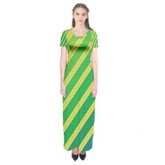 Green And Yellow Lines Short Sleeve Maxi Dress