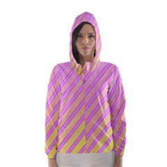 Pink And Yellow Elegant Design Hooded Wind Breaker (women)