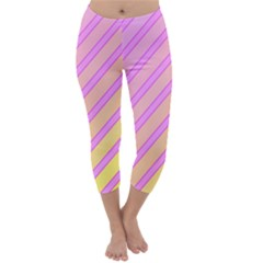 Pink And Yellow Elegant Design Capri Winter Leggings