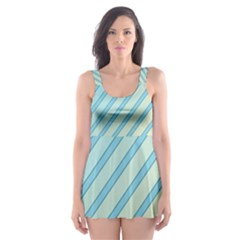 Blue Elegant Lines Skater Dress Swimsuit