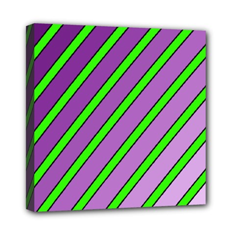 Purple And Green Lines Mini Canvas 8  X 8  by Valentinaart