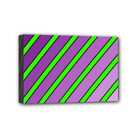 Purple And Green Lines Mini Canvas 6  X 4  by Valentinaart