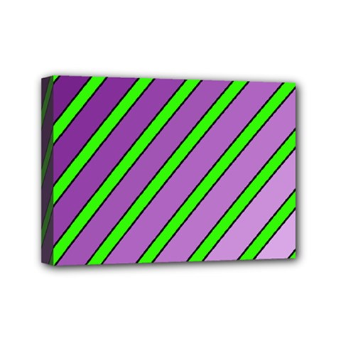 Purple And Green Lines Mini Canvas 7  X 5  by Valentinaart