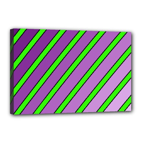 Purple And Green Lines Canvas 18  X 12  by Valentinaart