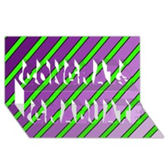 Purple And Green Lines Congrats Graduate 3d Greeting Card (8x4)  by Valentinaart
