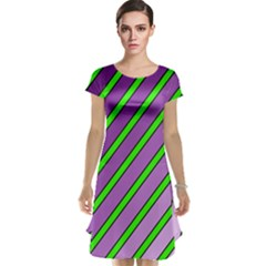 Purple And Green Lines Cap Sleeve Nightdress