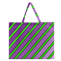 Purple And Green Lines Zipper Large Tote Bag by Valentinaart