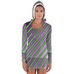Purple And Green Lines Women s Long Sleeve Hooded T-shirt by Valentinaart