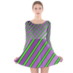 Purple And Green Lines Long Sleeve Velvet Skater Dress by Valentinaart