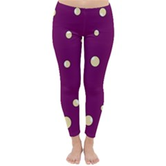 Purple And Yellow Bubbles Winter Leggings  by Valentinaart