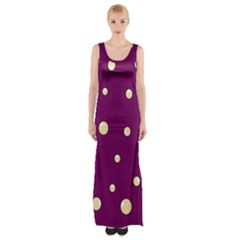 Purple And Yellow Bubbles Maxi Thigh Split Dress by Valentinaart