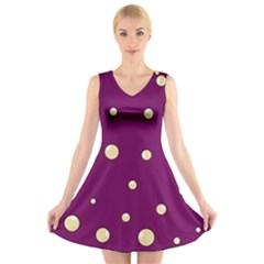 Purple And Yellow Bubbles V-neck Sleeveless Skater Dress by Valentinaart