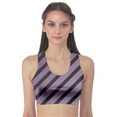 Purple Elegant Lines Sports Bra by Valentinaart