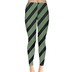 Green Elegant Lines Leggings  by Valentinaart