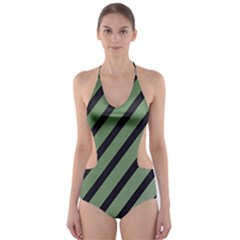 Green Elegant Lines Cut-out One Piece Swimsuit by Valentinaart