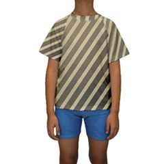 Golden Elegant Lines Kid s Short Sleeve Swimwear