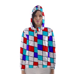 Colorful Cubes  Hooded Wind Breaker (women) by Valentinaart
